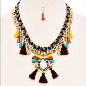 Boho Triple Color Braided Glass Bead Necklace Set